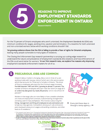 5 Reasons to Improve Employment Standards Enforcement in